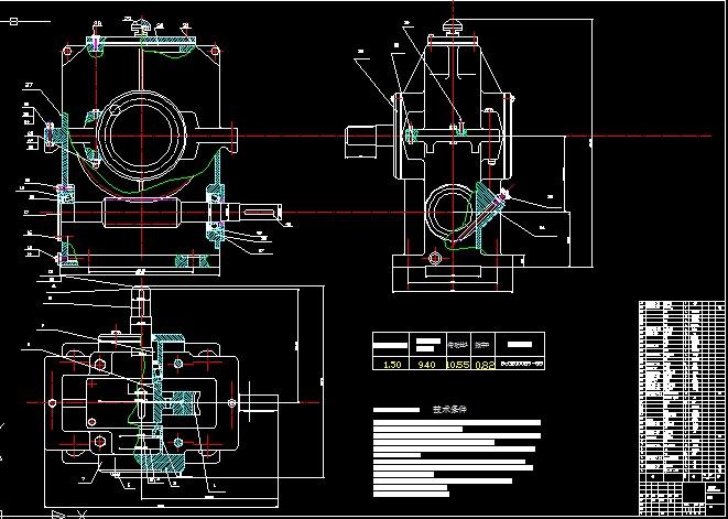 二级减速器箱体cad_求一张二级蜗轮-齿轮减速器的cad装配图,简图如下_百度知道