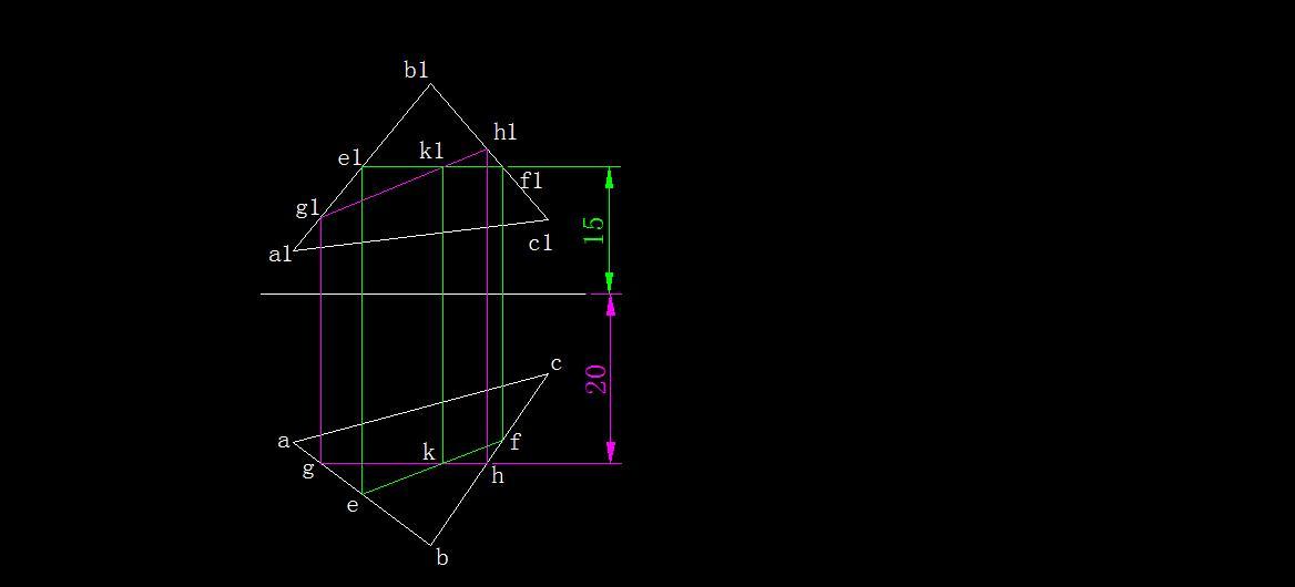 玄幻小�9lzgh��9�k_求出两直线的另一面投影和 交点k即可.
