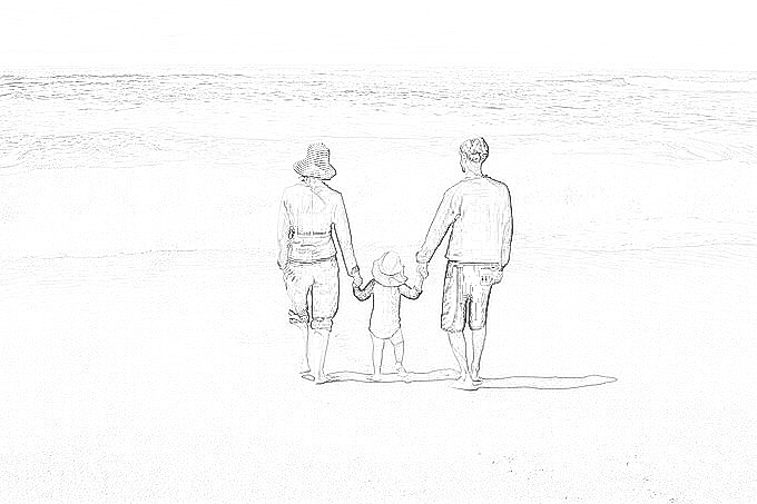 父女牵手的简笔画_爸爸妈妈和宝宝手牵手在海边的素描图画