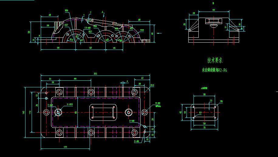 二级减速器箱体cad_二级减速器箱盖CAD图_百度知道