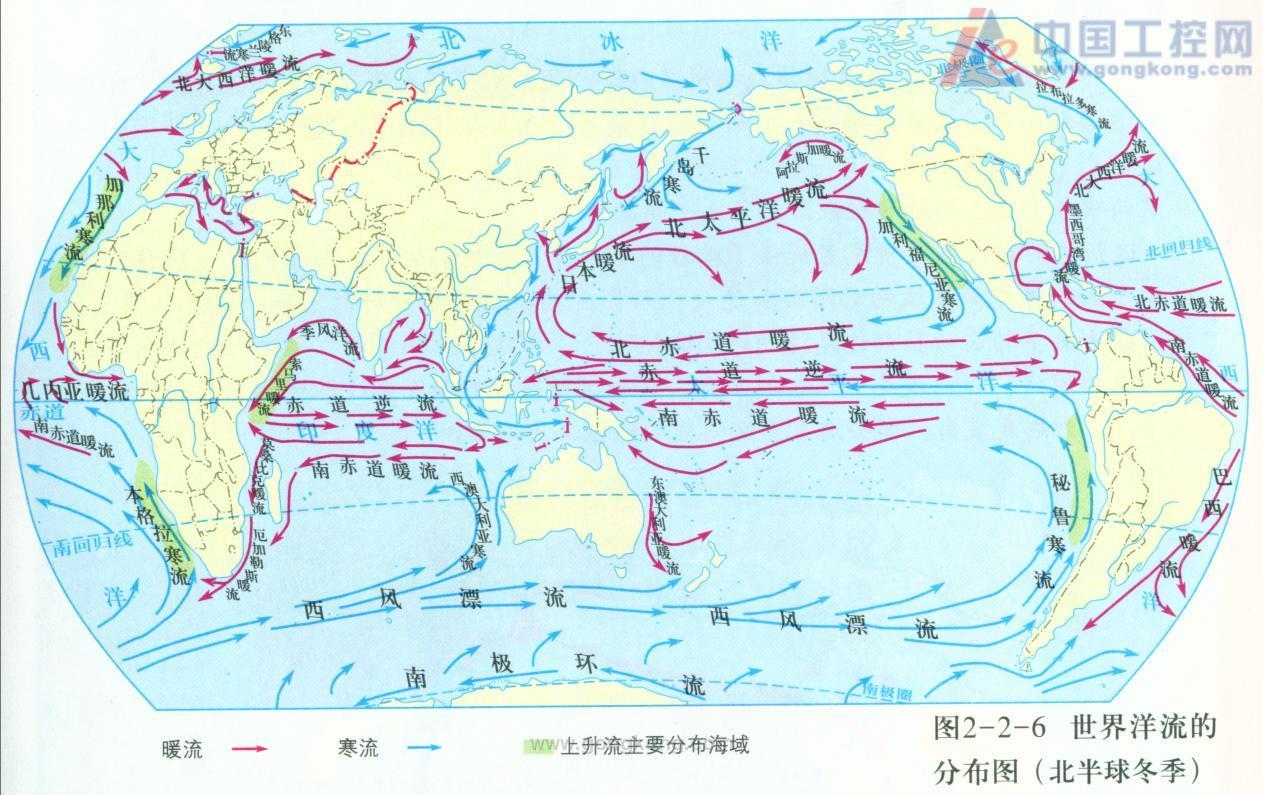 """世界洋流分布模式图_谁有""""三大洋流分布图""""的?_百度知道"""