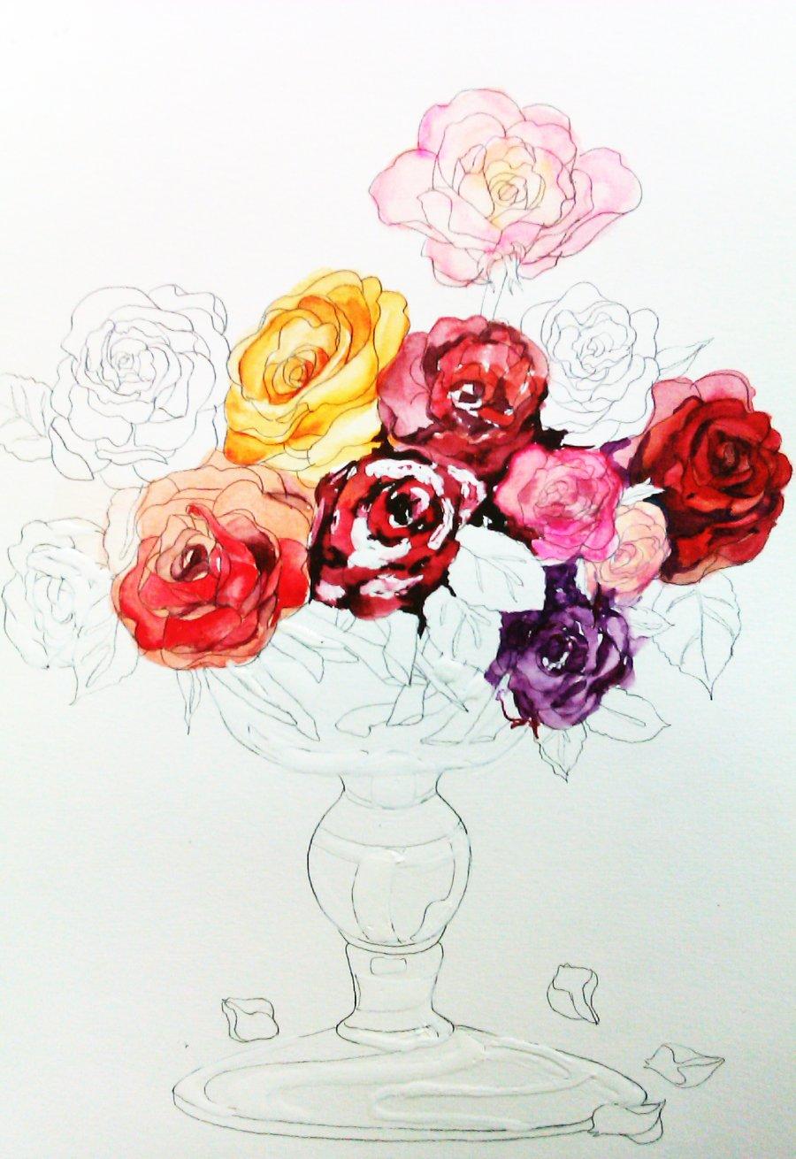 易画玫瑰花朵的图片_水彩画花入门临摹图片-水彩画初学者临摹图片|初学者易临摹的 ...