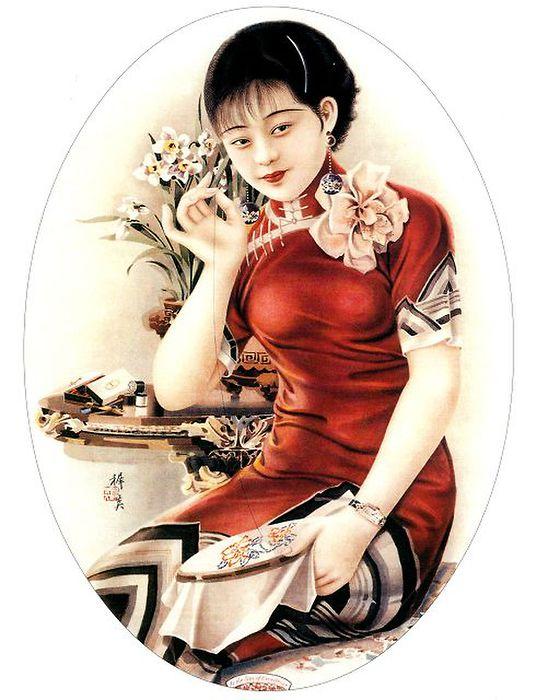 民国美女脱旗袍做爱�_求一张手绘民国风少女的图!
