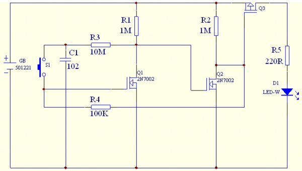 按键复位电路图_双稳态电路是我们经常用于作为单键控制负载开关电路图片