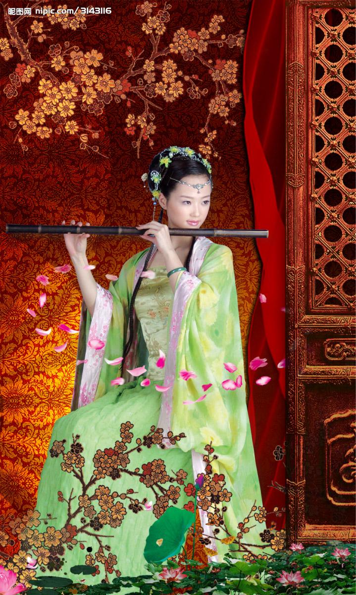 古代美女吹笛子图片_找一张古代女子吹箫的图_百度知道