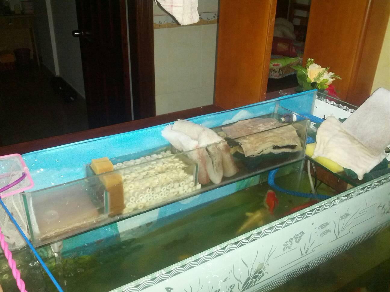 上滤鱼缸改造_鱼缸上滤改造最佳图片-自制鱼缸上滤过滤盒/1.2米上滤鱼缸改造 ...