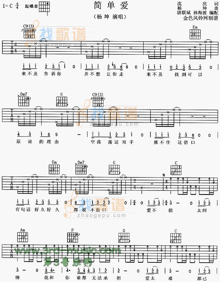 民谣吉他入门曲谱_我是吉他初学者,求最简单的民谣吉他谱便于平时练。谢谢