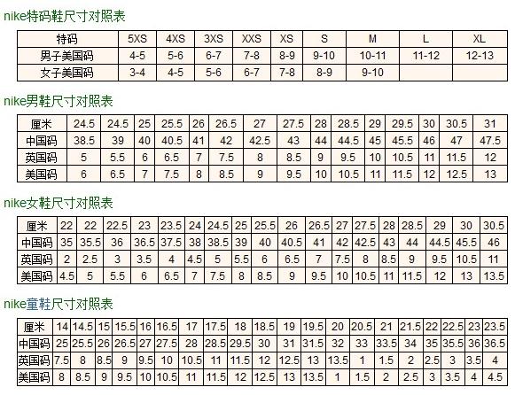 耐克乔丹女鞋尺码表_怎么看耐克尺码表_百度知道