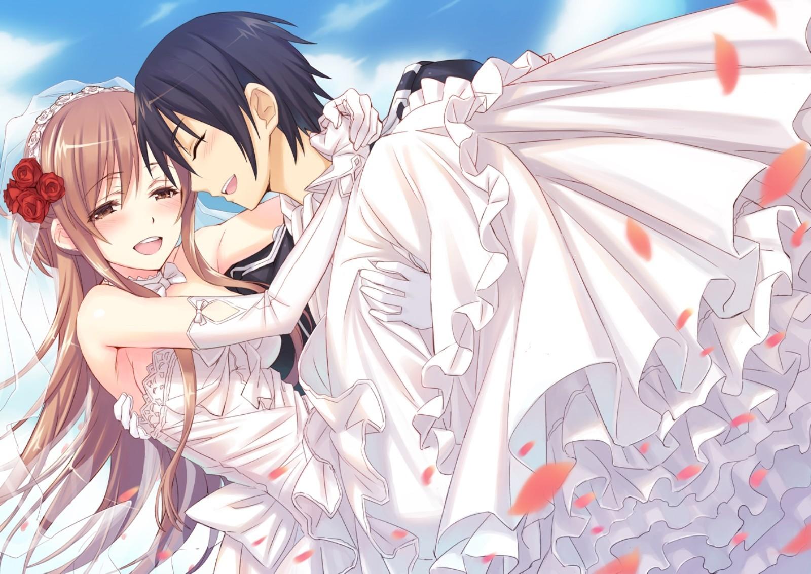 桐人和亚丝娜动态图_谁有刀剑神域官方出的亚丝娜和桐人穿着结婚礼服的大图_百度知道