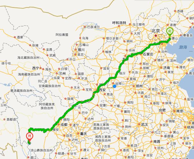 從唐山到稻城亞丁旅游最佳路線圖自駕游圖片
