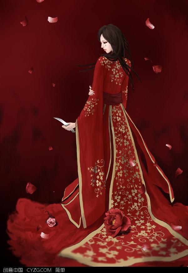 古装动漫服装图片_求图,手绘古装红衣美女一只。_百度知道