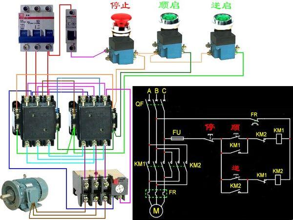 220v交流电机正反转_求220V接触器双重互锁正反转实物接线图?只要断路器 按钮 接触器 ...
