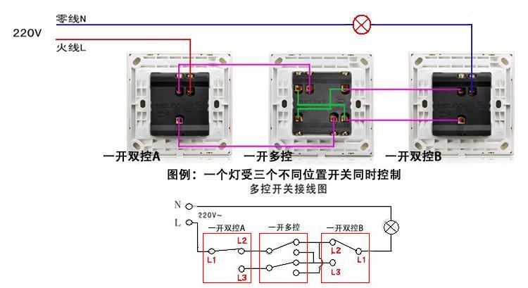 双联开关接线图_三控开关控制三个灯的路线图_百度知道