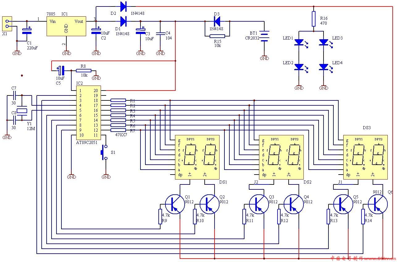 数字时钟电路原理图_求数电课程设计数字钟,有详细电路图_百度知道