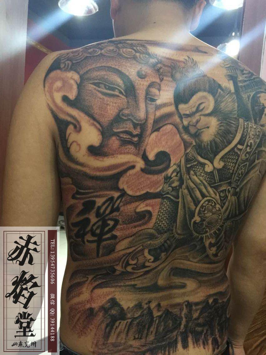 纹身神佛图片_满背纹身手稿线条图片_满背纹身手稿线条图片分享