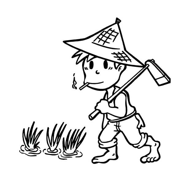 农夫锄地的简笔画_求一张锄田的萌萌的高清图片做q头像!
