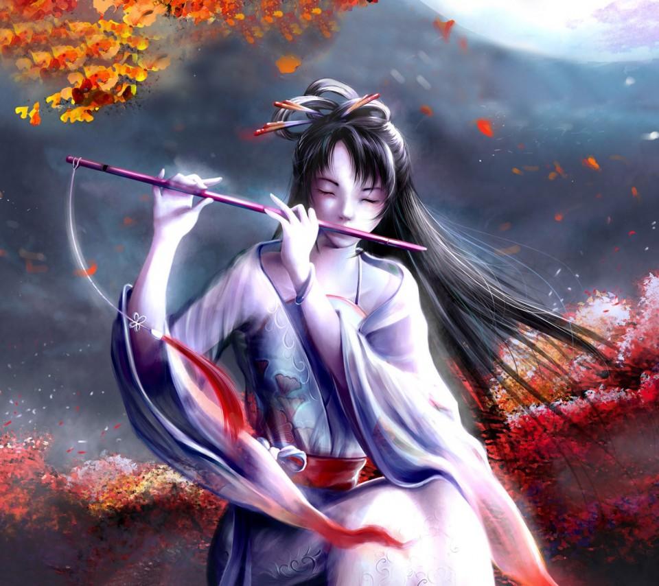 古代美女吹笛子图片_古风男子吹笛子的图_古风女子吹笛子的图,吹笛子的古风图图片