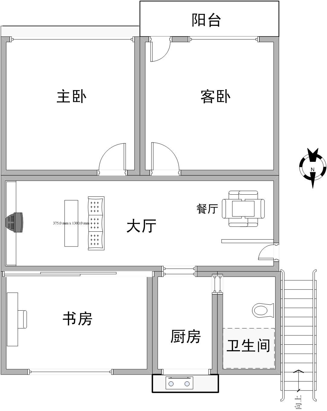 房屋座北朝南,兩梯六層24戶,底層為雜物間,此戶型位于三樓中間303室圖片