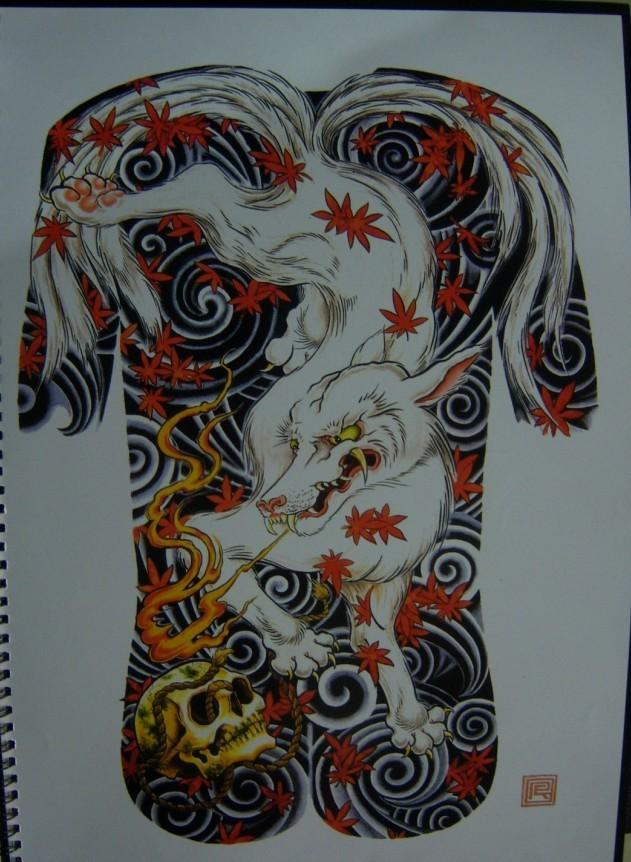 求大神幫我找一個或者做一個 九尾狐的圖騰 九尾在上圖片