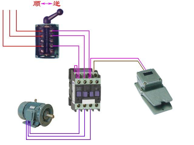 220v交流电机正反转_用一个脚塌开关启动一个倒顺开关和一个交流接触器来控制三相 ...