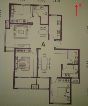 房子使用面積是122平的,坐北朝南,每層兩戶,我是西戶.圖片
