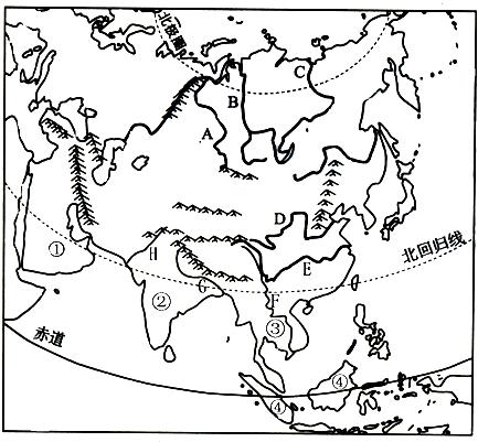 亚洲一�_读亚洲略图,完成下列各题.(1)写出亚欧分界线的名称