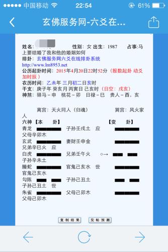 网上起卦_六爻,哪位大师看图给看看: 1987年女 起卦时间2015.4.