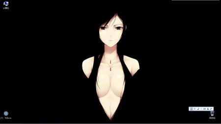求一張動漫壁紙 黑色背景,除了動漫人物身體之外全黑圖片