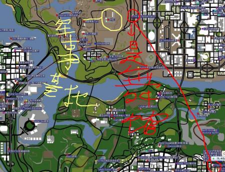 军事地�_看下地图黄笔是军事基地,红的是舞馆