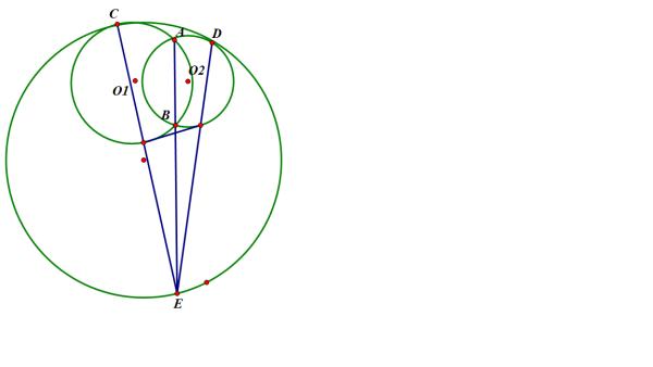 如图 圆o2与半圆o1_有关圆的题目如图,圆O1,圆O2相交于A,B,圆O与圆O1,圆O2分别内切于C,D ...