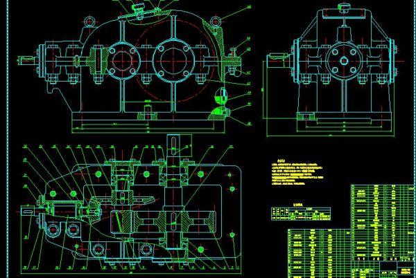 二级减速器箱体cad_跪求二级圆锥-圆柱齿轮减速器上盖,底座cad装配图,有吗 ...