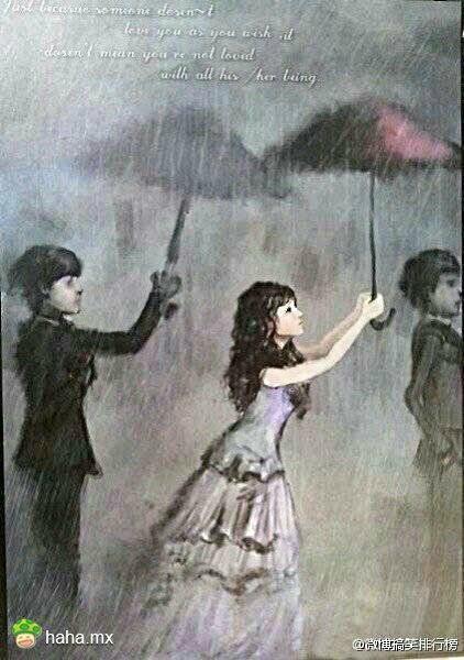 一个女人拿一把伞_求一漫画人物图 一个男的在雨中用伞遮女, 女的遮另一个男 ...