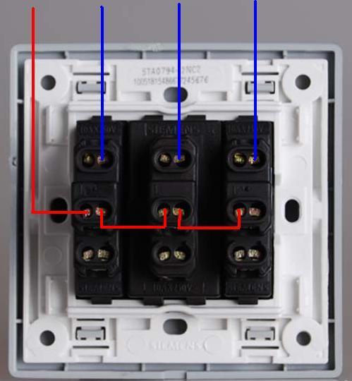 单开3控开关接线图_三开双控开关当单控用,怎么接线?如图所示,从上到下三排 ...