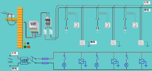 9014开关电路图_有一条主电线 要接到三个房间里 并且每个房间里有一个白炽灯 ...