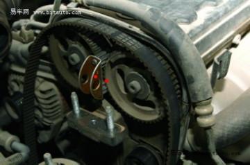 c5正时皮带记号图 途胜正时皮带装配图 正时皮带涨紧轮 高清图片