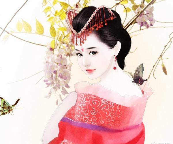 古装美女丹青_求古代美女侧影图,手绘的,大 ...