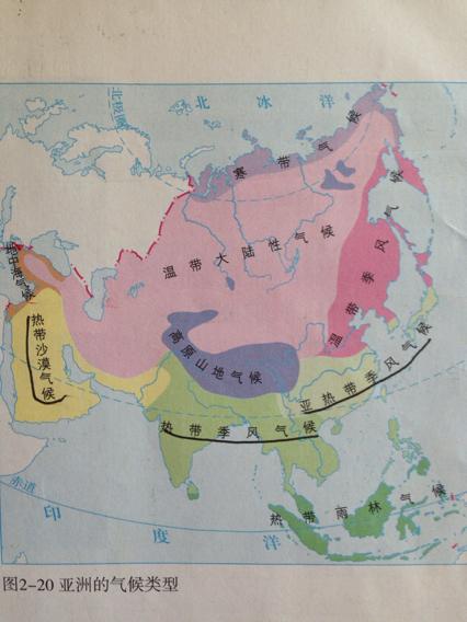 亚洲候类型分布�_亚洲气候类型分布图