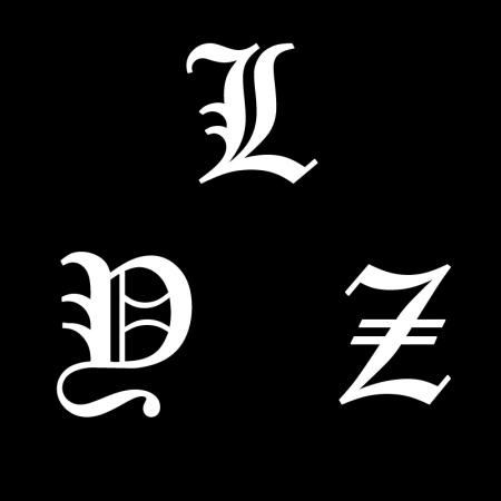 _求p,麻烦大神把哥特式字体(死亡笔记l的那种)的字母yzl用黑底白字合在