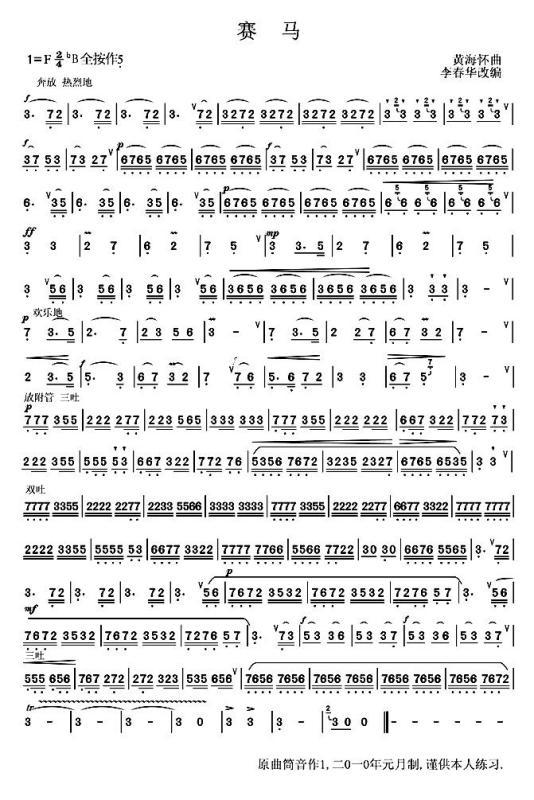 賽馬鋼琴曲簡譜圖片展示圖片