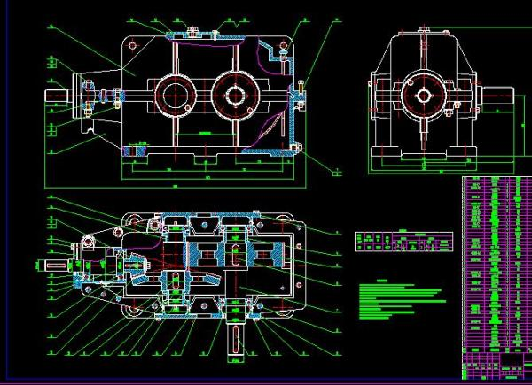 二级减速器箱体cad_机械设计课程设计说明书(二级圆锥 圆柱齿轮减速器)+CAD图纸 ...